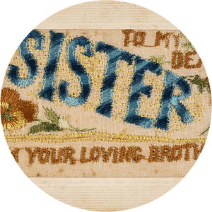 To my dear sister from your loving brother, 1918. Part of: Adeline Mary Warner Postcard Book ca. 1920, 29459/2