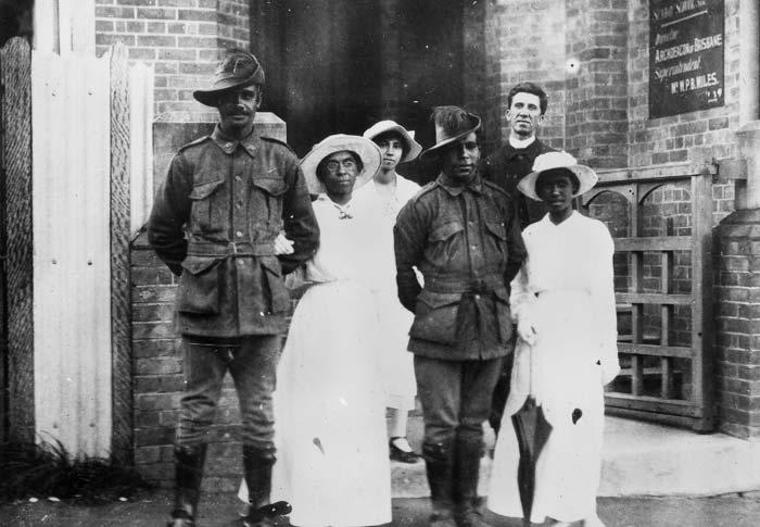 Servicemen's wedding at Charlotte Street Brisbane 1917